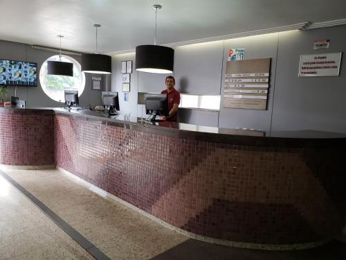O saguão ou recepção de Hotel Danúbio