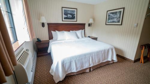 سرير أو أسرّة في غرفة في فندق هولندا جيرسي سيتي / هوبوكين