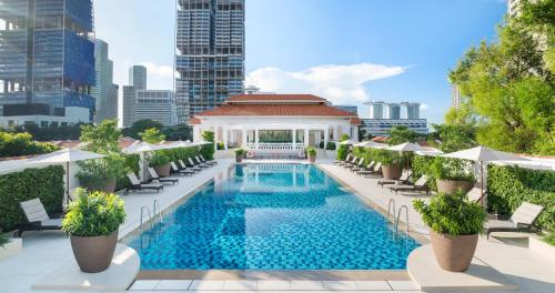 The swimming pool at or near Raffles Singapore