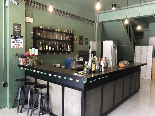 The lounge or bar area at Hub of Joys Hostel