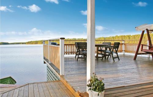 En balkong eller terrass på Holiday home Lomträsk Arvidsjaur