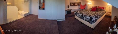 A bed or beds in a room at La Petite Bruyere De Renaix