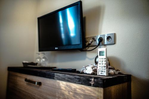 TV a/nebo společenská místnost v ubytování Penzion Víno Hruška