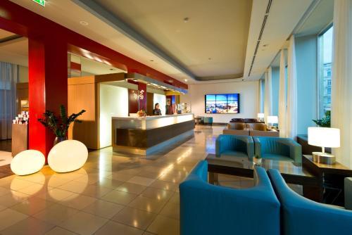 The lobby or reception area at Adrema Hotel