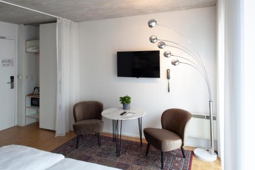 A television and/or entertainment center at Hotel Banks