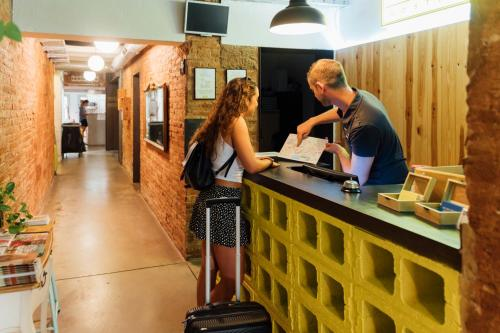 The lobby or reception area at The Loft Hostel