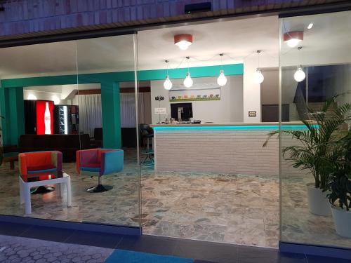 The lobby or reception area at Hostal Rosi