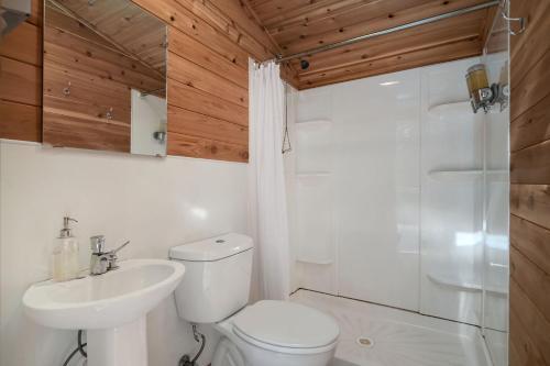 A bathroom at Under Canvas Glacier