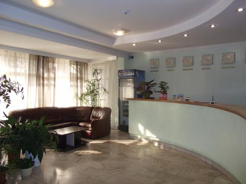 The lobby or reception area at Galas Hotel