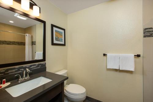 A bathroom at Days Inn by Wyndham Monterey-Fisherman's Wharf Aquarium