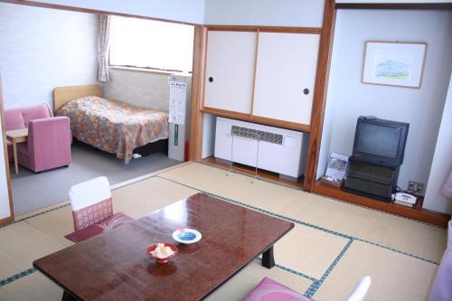 A seating area at Akakura Wakui Hotel