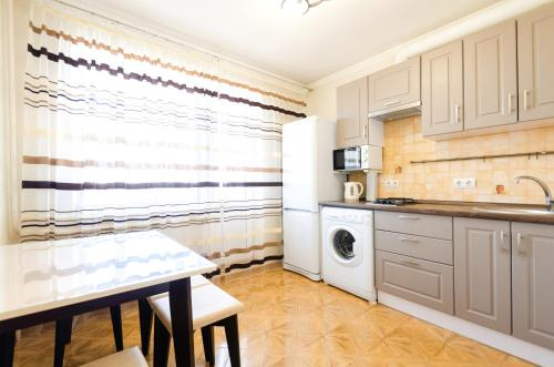 A kitchen or kitchenette at Apartment on Obolonskaya Square 3