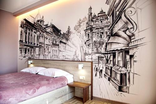 Кровать или кровати в номере SUNNY SIBERIA boutique studio