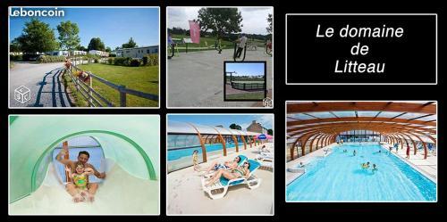 Vue sur la piscine de l'établissement mobilhome 2 chambres ou sur une piscine à proximité