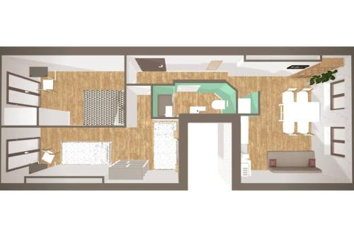 """The floor plan of 6 Couchages, Wifi Fibre & NETFLIX """"experience-immo"""""""