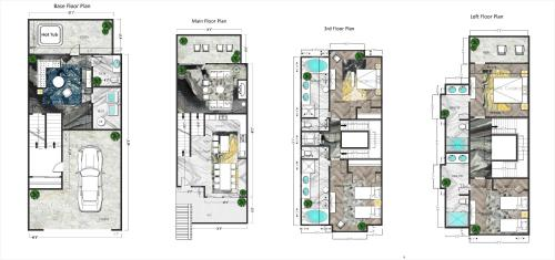 The floor plan of Macaron by Samsara Resort - Panorama Top View - Private Hot Tub - 4BR&5BTH