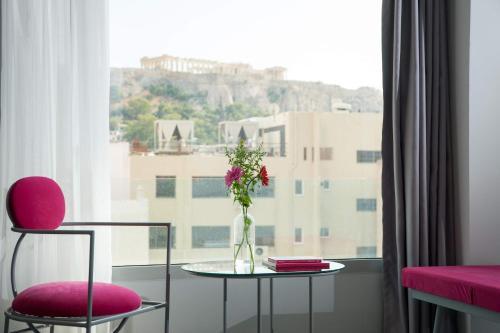 A seating area at Athens Utopia Ermou