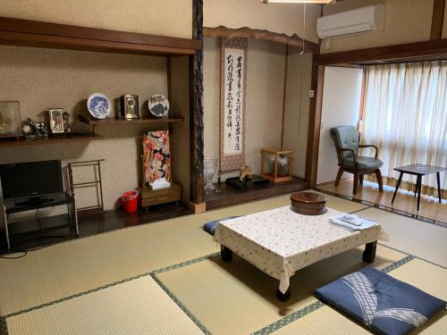 A seating area at Hoshi Ryokan