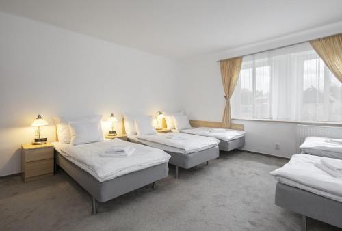 Postel nebo postele na pokoji v ubytování Pytloun Wellness Travel Hotel