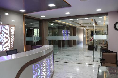 The lobby or reception area at Hotel Ajmer Tower
