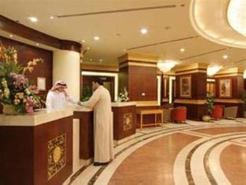 The lobby or reception area at Al Qibla Hotel