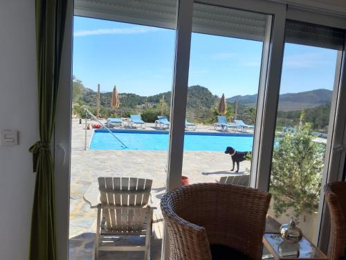 Uitzicht op het zwembad bij Casa Lamberdina of in de buurt