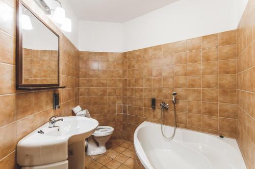 Koupelna v ubytování Hostel u Arény