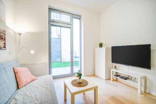TV a/nebo společenská místnost v ubytování Studio Vlněna