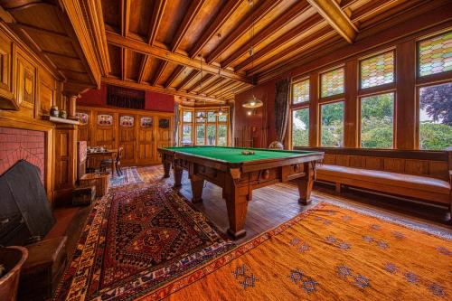 A pool table at Pen-y-bryn Lodge