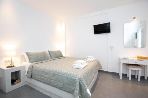 Letto o letti in una camera di Santorini View Studios - Firostefani Caldera