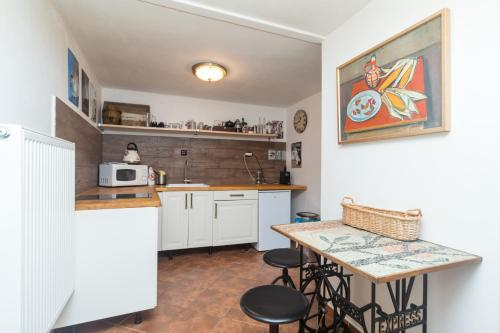 A kitchen or kitchenette at Budyně Apartment