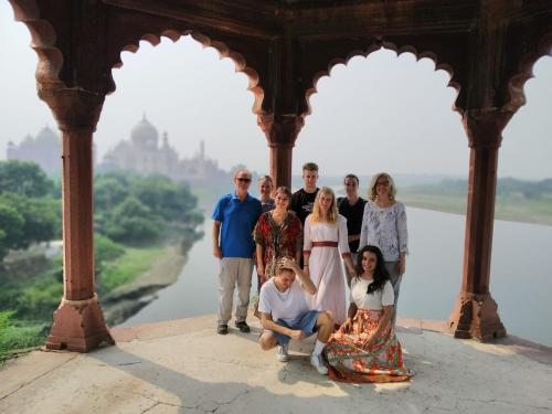 A family staying at Zigzag Hostel Agra
