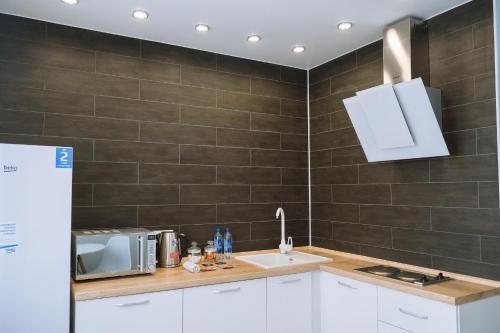 A kitchen or kitchenette at Apartment on Krivenko Street