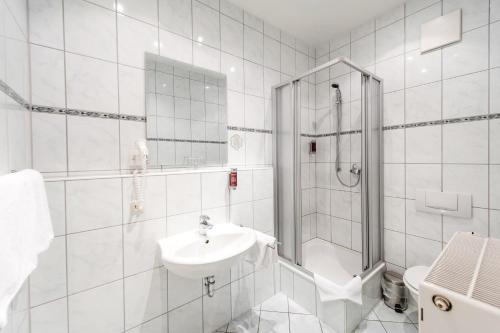 A bathroom at Historische Spitzgrundmühle