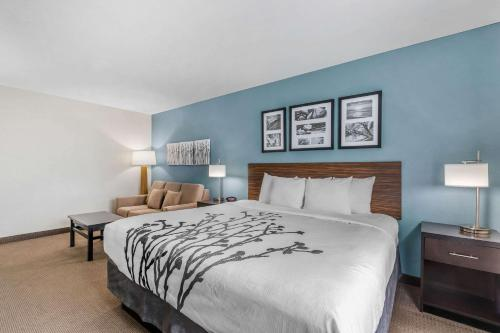 A bed or beds in a room at Sleep Inn & Suites Ames near ISU Campus