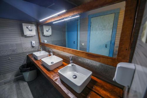 A bathroom at The Bridge Hostel