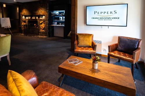 A seating area at Peppers Cradle Mountain Lodge