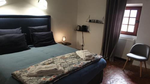 Postel nebo postele na pokoji v ubytování la bastide de l'adrech