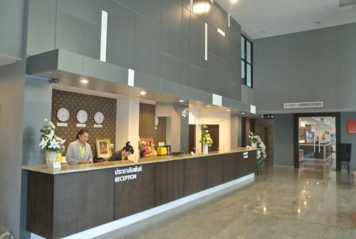 The lobby or reception area at S Tara Grand