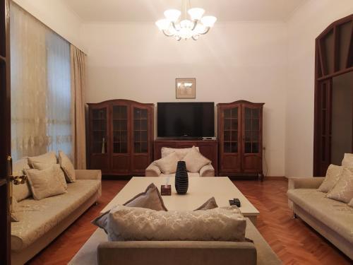 Uma área de estar em At Baku 23rd Line Apartment