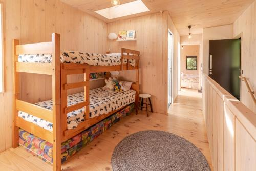 A bunk bed or bunk beds in a room at Bellbird Bach - Akaroa Holiday House