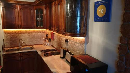 Kuchyň nebo kuchyňský kout v ubytování Castle Premium Apartment