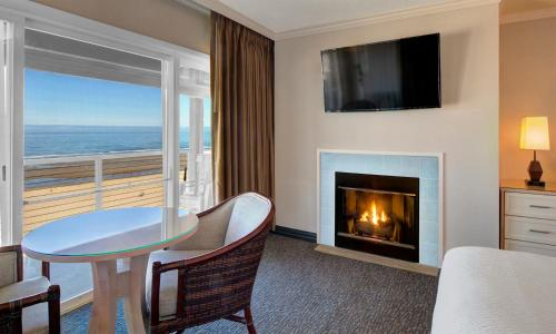 A television and/or entertainment center at Hallmark Resort in Cannon Beach