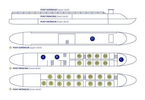 The floor plan of Bateau Hotel le Chardonnay Avignon
