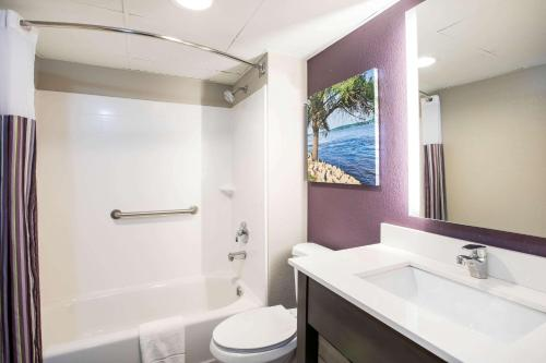 A bathroom at La Quinta Inn by Wyndham Davenport & Conference Center