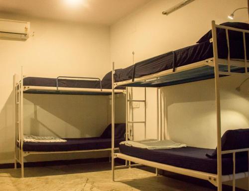 Двухъярусная кровать или двухъярусные кровати в номере Hostel Gandhi