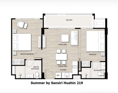 The floor plan of 2Bedroom Summer by Sansiri 219