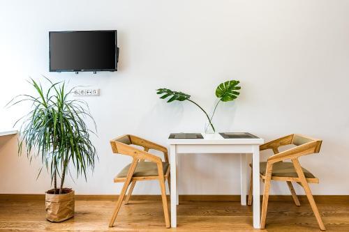 Televizorius ir (arba) pramogų centras apgyvendinimo įstaigoje Auros apartamentai