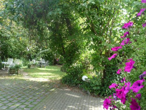 Ein Garten an der Unterkunft biozertifiziertes Hotel Höpfigheimer Hof mit Wein-Shop