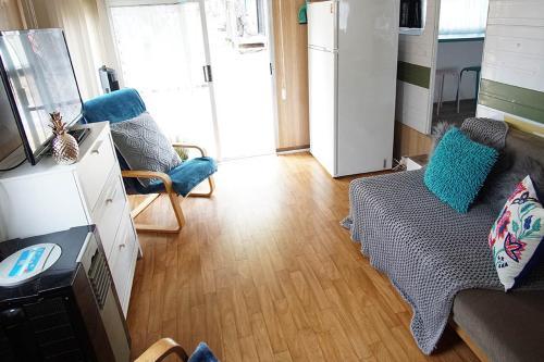 A seating area at Mornington Peninsula Retro Caravans